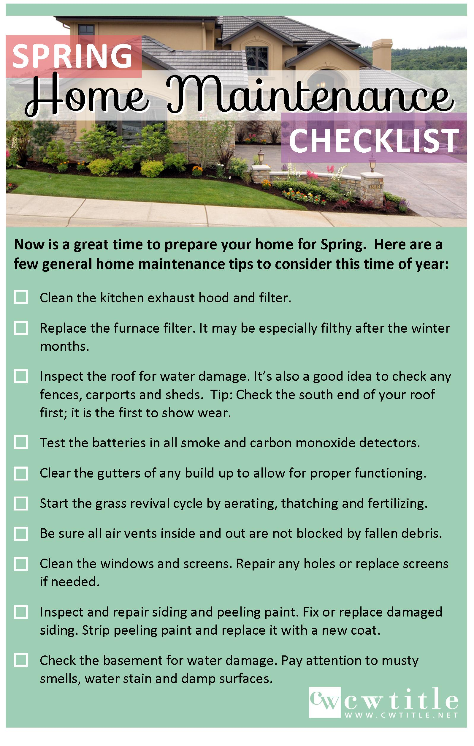 looking forward to spring | home maintenance tip | cw title | our